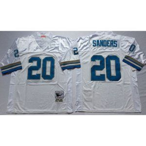 Barry Sanders White Stitched Throwback Jersey